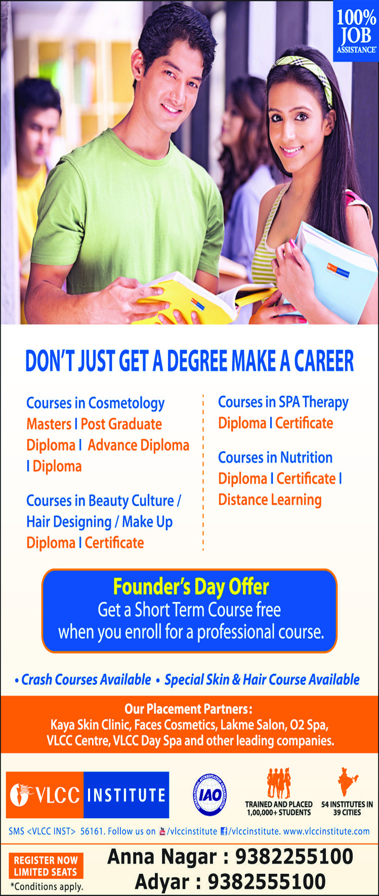 Founder's Day Offer On VLCC Institute  Get a Short Term