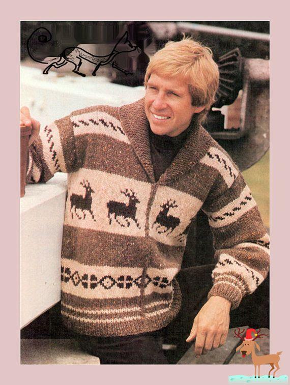 Vintage Knitting Pattern to make Men's Classic Chunky Reindeer ...