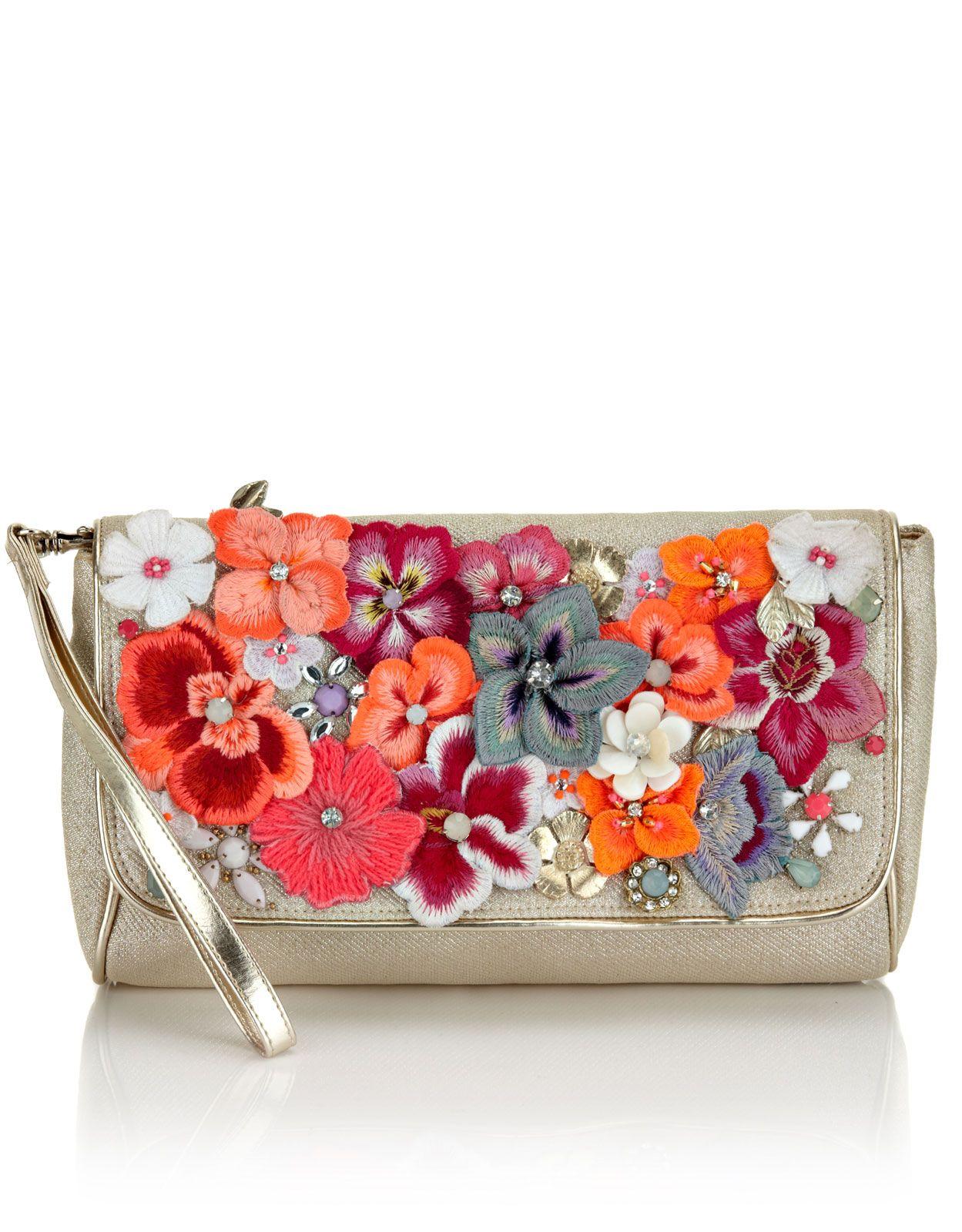 Simply Be Flower Embellished Clutch Bag SQFW2gWBpL