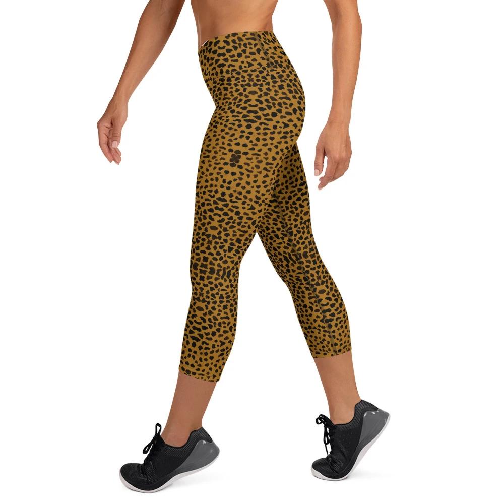 Womens Yoga Pants Pink Cheetah Leopard Elastic Workout Running Leggings Pants