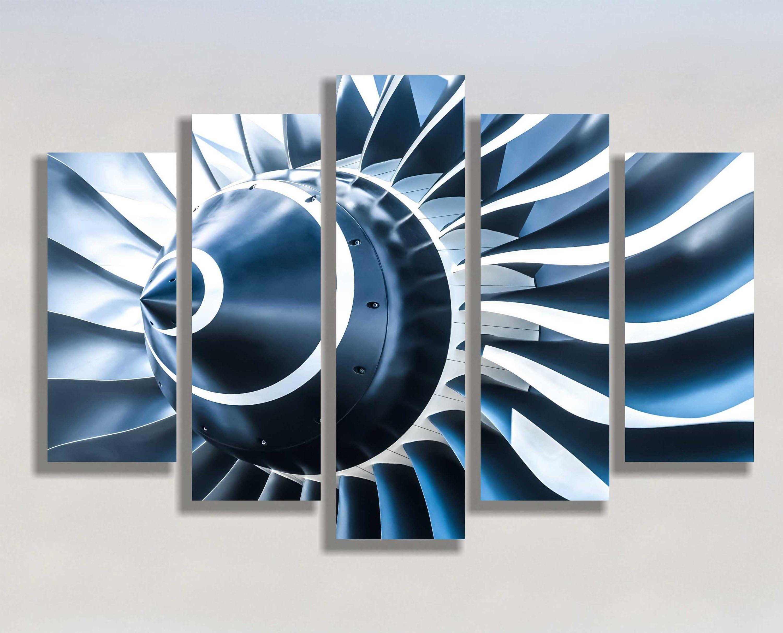 Airplane Jet Engine Blue Tone Blades Wall Art Decor Canvas Etsy Wall Art Decor Art Decor Canvas Art Prints