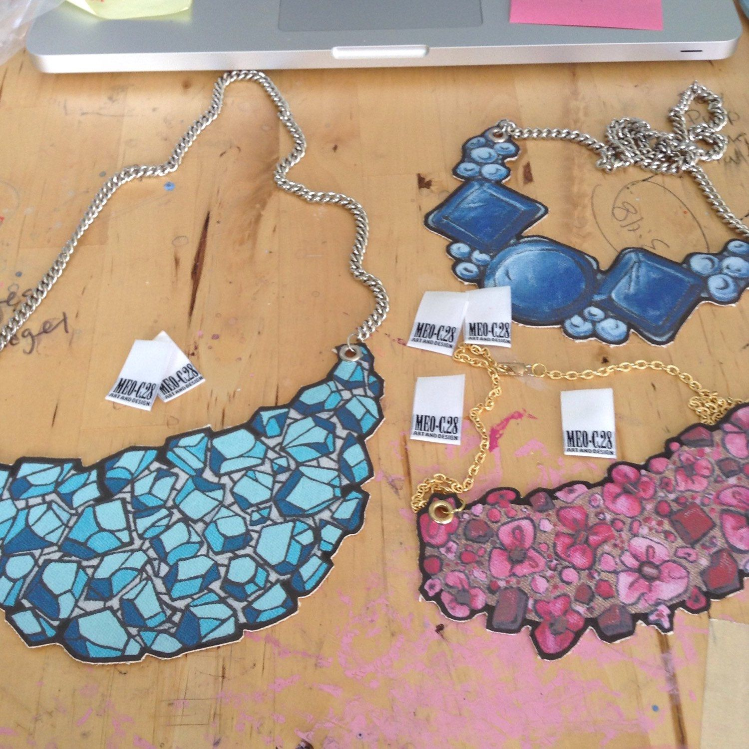 Making of the reproduction print necklaces