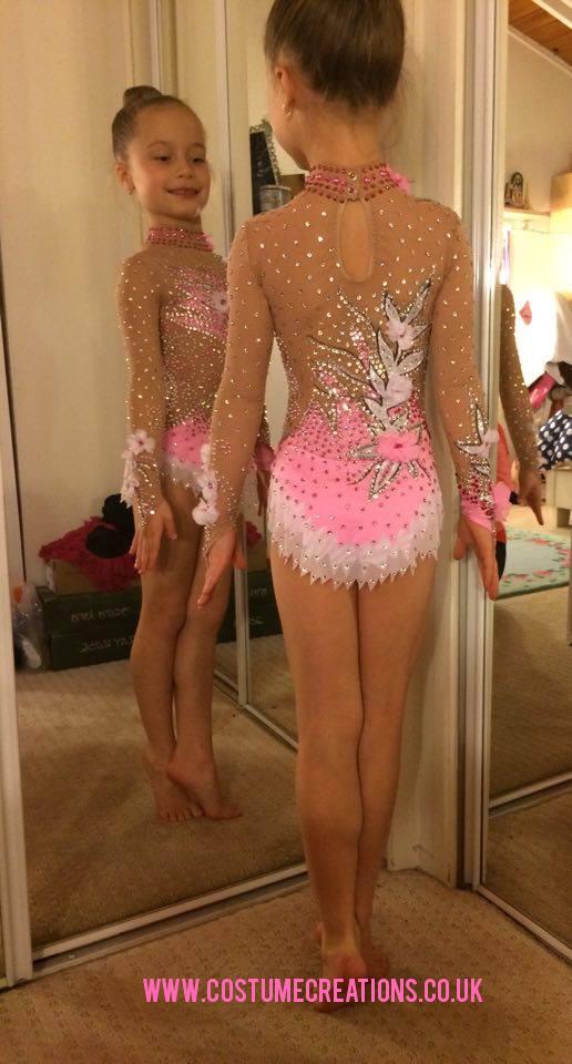 7a5bc2018374 Rhythmic Gymnastic Leotard - pink silver white - hand made by Monica ...