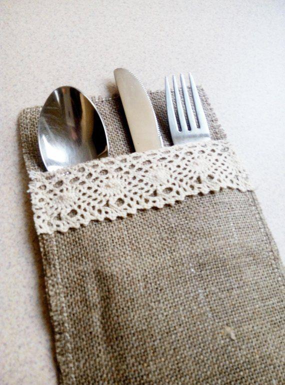 Burlap Silverware Holder Rustic Accessories Wedding Decor Table
