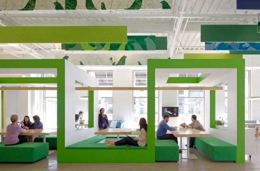 Office workspace unique square form with lime green for Green office interior design