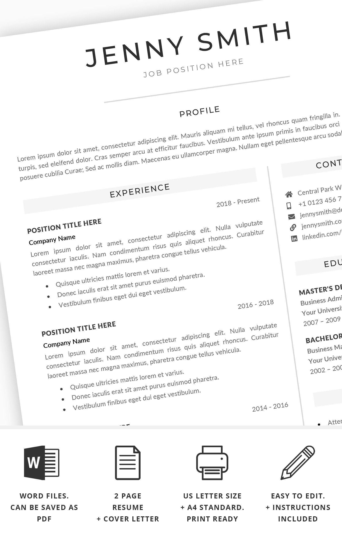 Resume Bundle Cv Bundle Modern Clean Resume Template Word Resume Words Resume Template