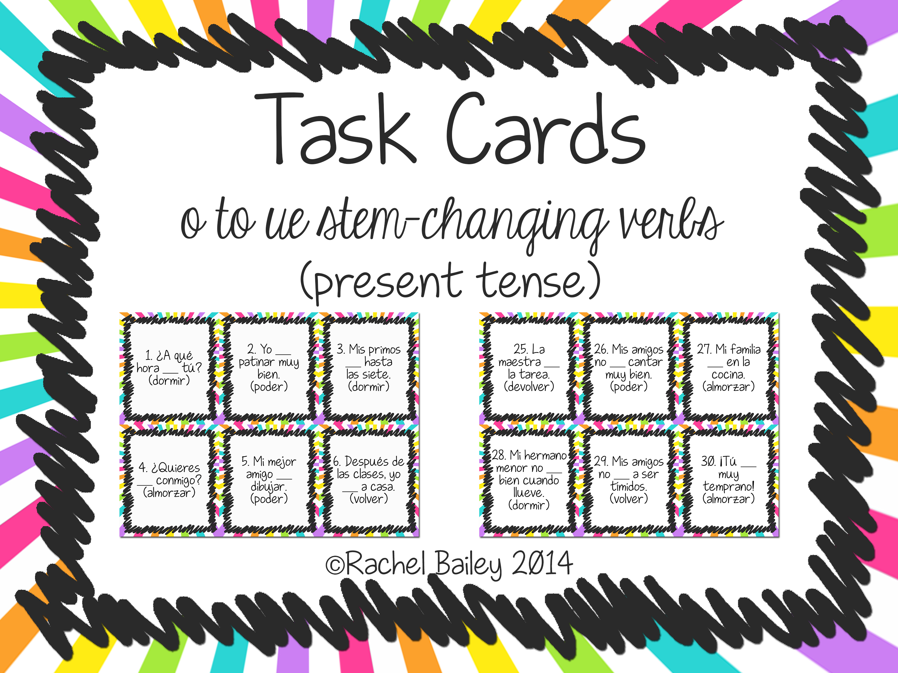 O To Ue Stem Changing Verbs Present Tense Task Card