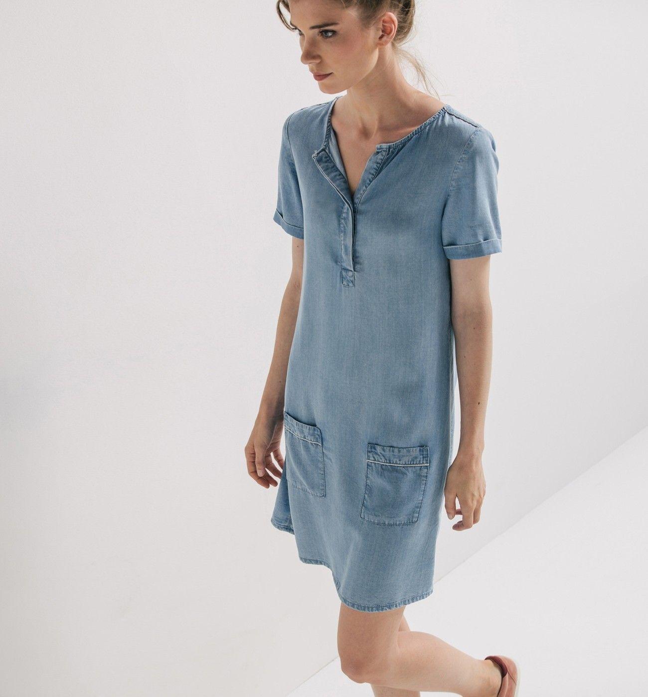 Robe en denim light Femme - Jean moyen - Robes - Femme - Promod ... a5be5823d6c6