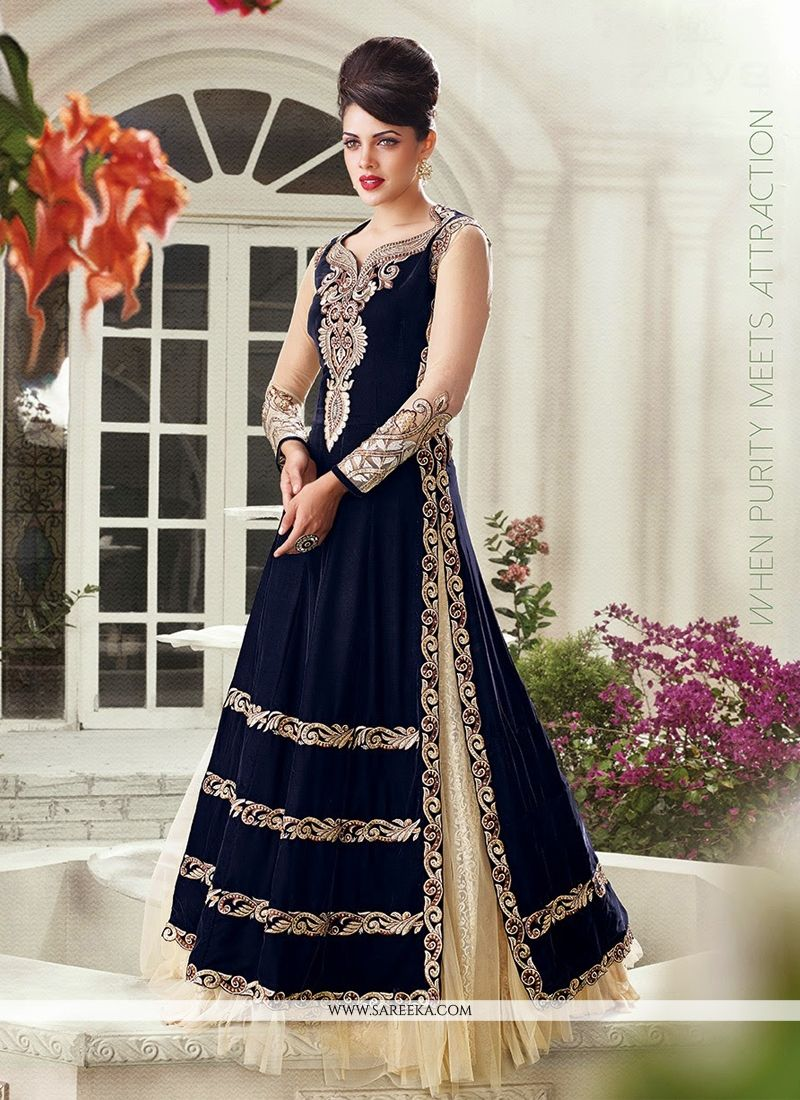 3c12e55f25e9 Navy blue and cream velvet lehenga choli lining designed with zari