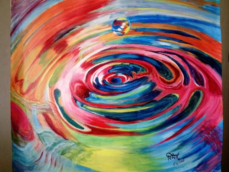 Saatchi Art: Colourful Ripples in water Painting by Smita Srivastav #waterripples
