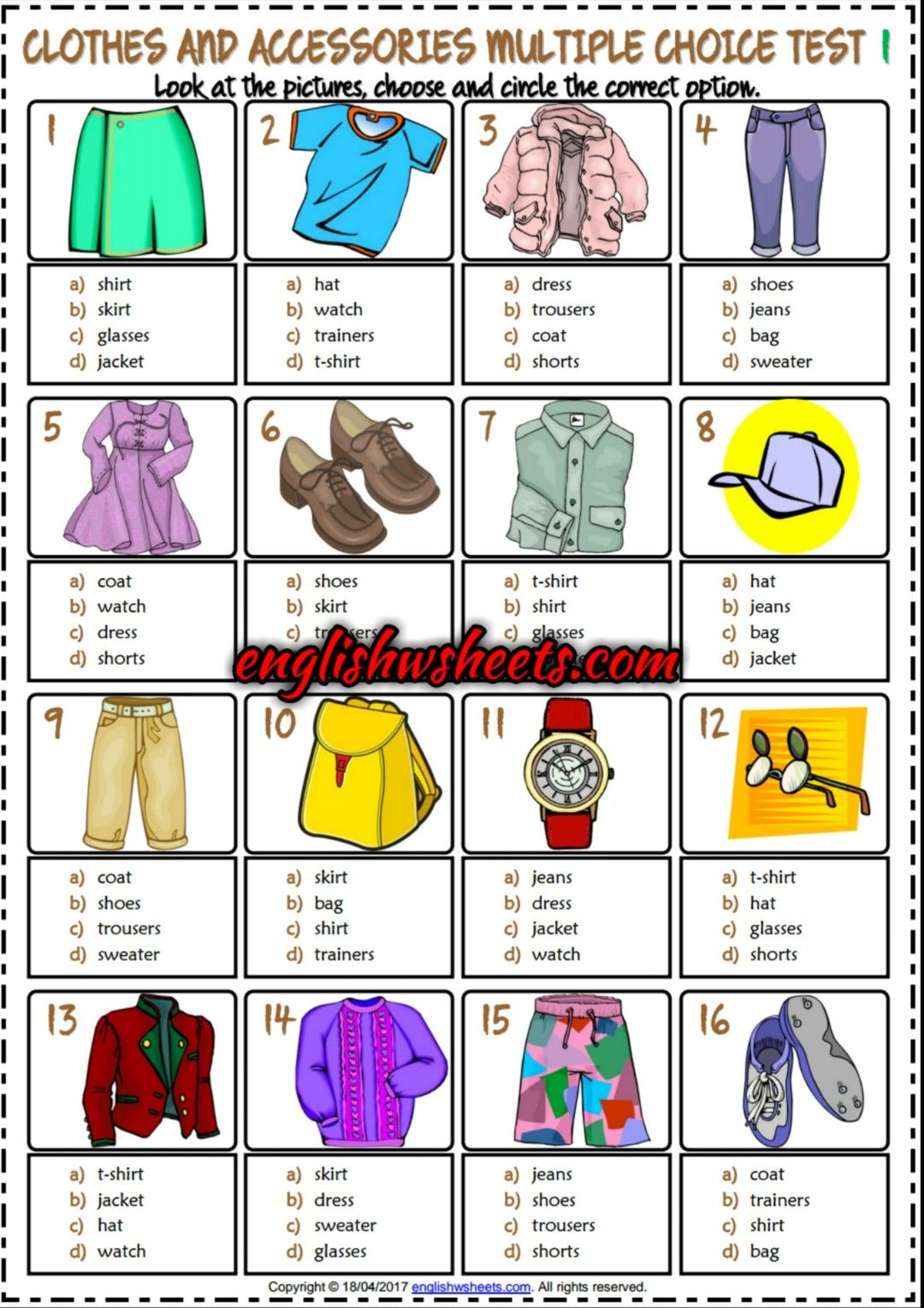 Clothes And Accessories Esl Printable Multiple Choice