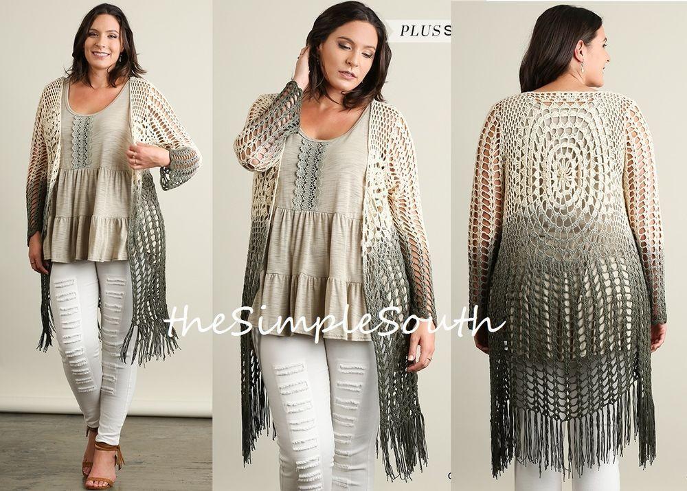 e2a8e3e5c25 New UMGEE Long Drape Open Crochet Knit Sleeveless Sweater Vest Top Plus Size