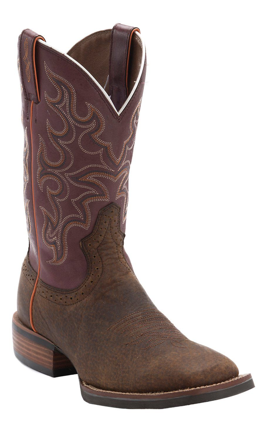 Justin 174 Men S Silver Collection Copper Buffalo With Maroon Top Double Welt Square Toe