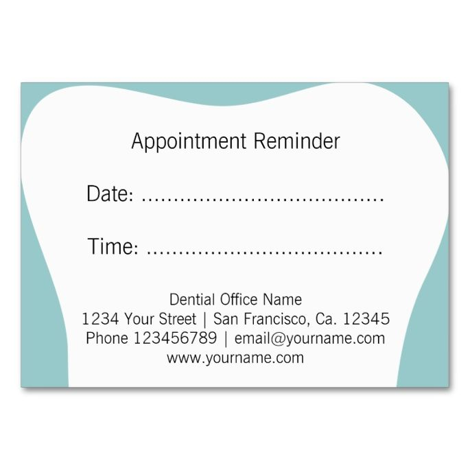 Dentist appointment reminder cards dental office for Medical appointment card template free