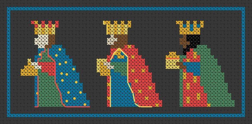 Christmas cross stitch pattern: We Three Kings