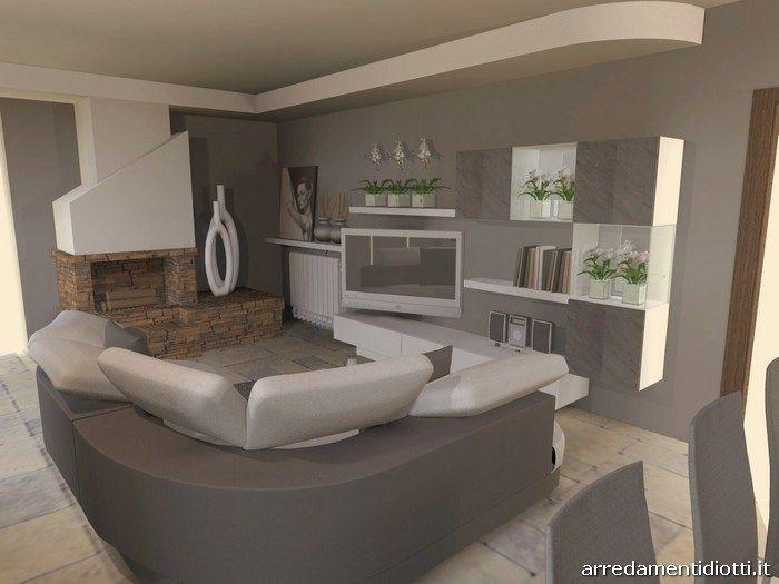 Soggiorno in pietra stone con divano curvo florida for Rivestimento parete salotto