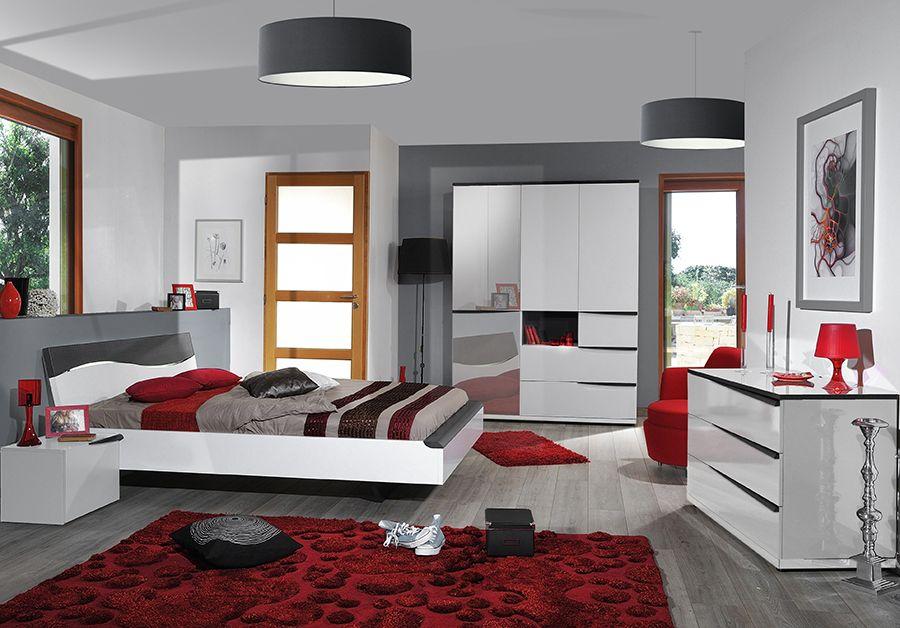 Chambre complète lumineuse contemporaine PERPIGNAN, coloris gris