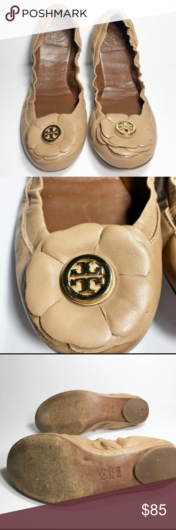 943d4a8a961 Tory Burch Shelby Ballet Flower Flats. Gently Used Tory Burch Shelby Ballet  Flat in Genuine Tan Leather With Flower Detail and Gold Logo.