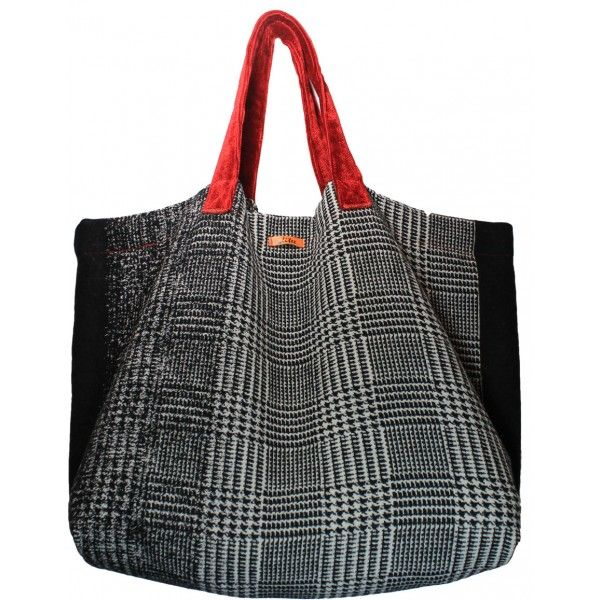 Einkaufstasche, Shopping Bag I Stoff Glencheck mit roten Samthenkel ...