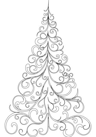 Swirly Christmas Tree Coloring