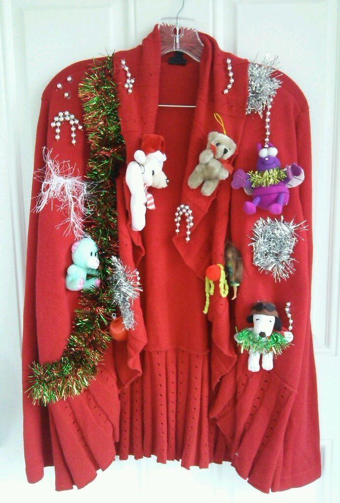 XL Extra Large Red Ugly Christmas Party Sweater 1X #Rafaela #BoleroStyleLong