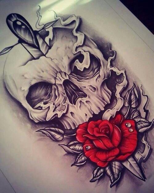 Imagen De Dagger Red And Rose Skull Rose Tattoos Tattoos Skull