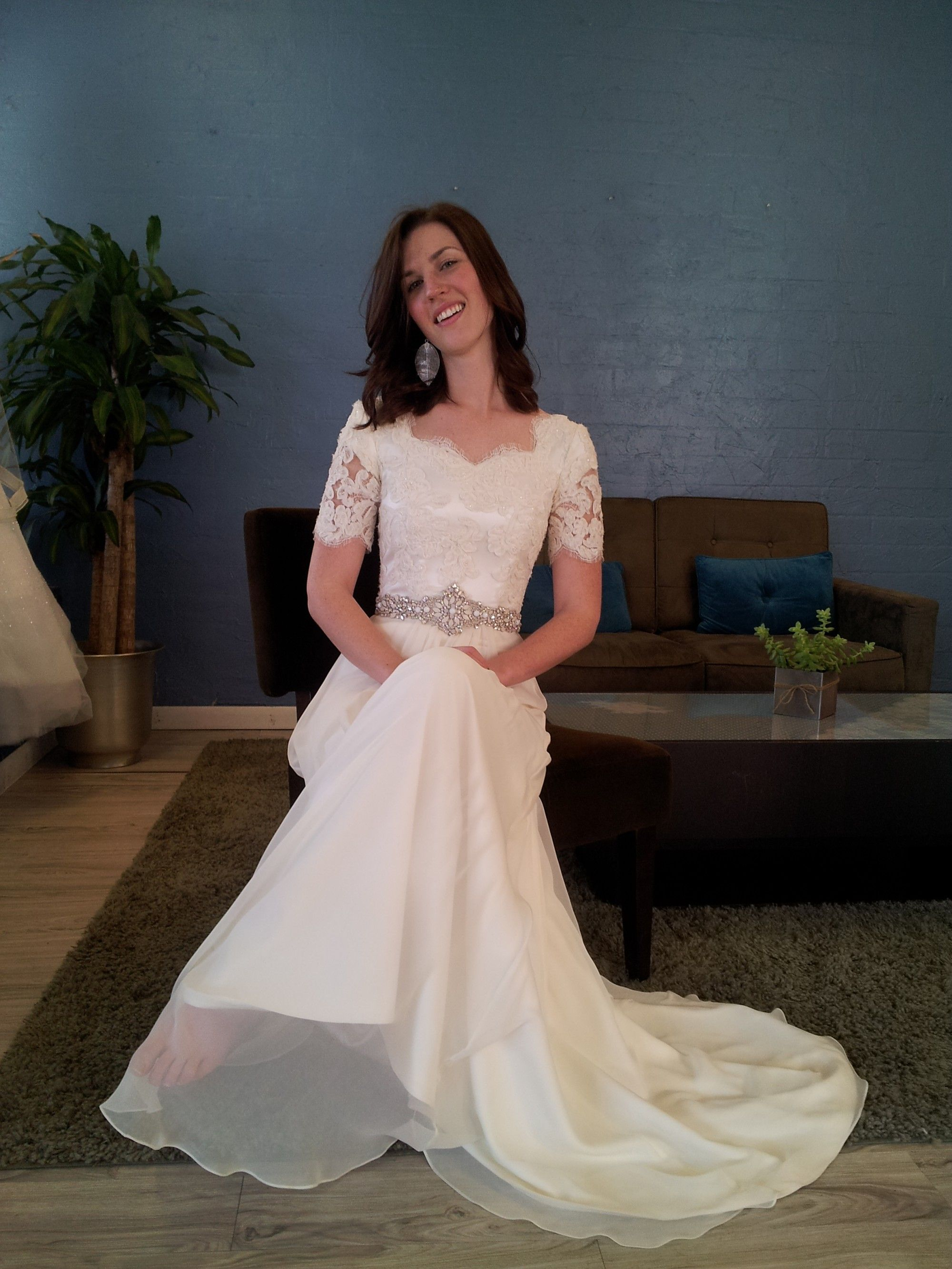 Very pretty with actual short sleeves and sparkly belt for Sparkly wedding dresses with sleeves