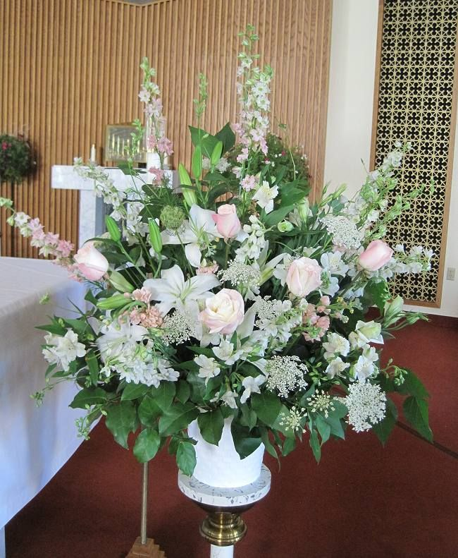 Church Altars Modern Flower Arrangement: Wedding Ceremony Flowers