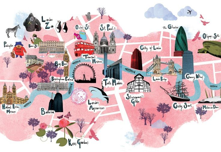 London Map With Sights.Cute Map Of London Sights London London Map Tourist Map London