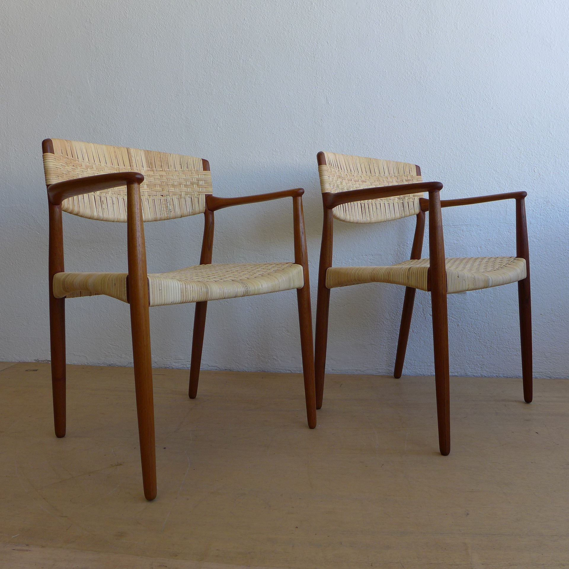Madsen & Larsen Teak Cane Captain Dining Arm Chairs  Organic Glamorous Captain Chairs For Dining Room Inspiration