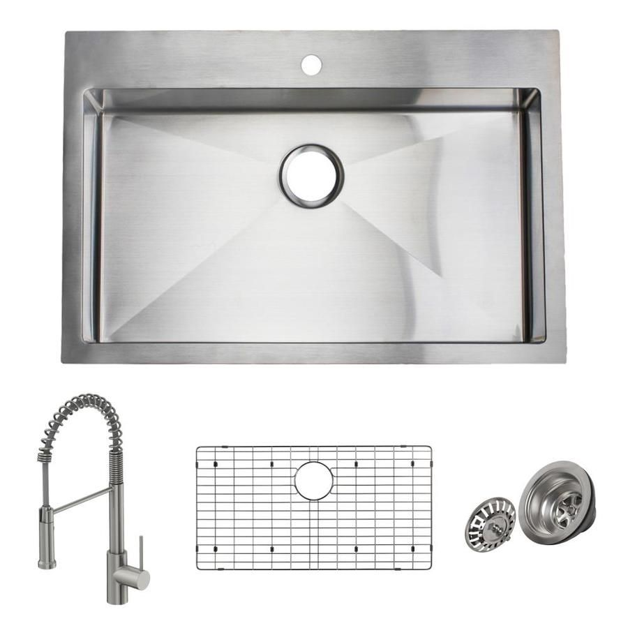 Giagni Trattoria 33 In X 22 In Stainless Steel Single Bowl Drop In Or Undermount 1 Hole Residential Kitchen Sink All In One Kit Lowes Com In 2020 Sink Drop In Kitchen Sink Undermount Stainless Sink