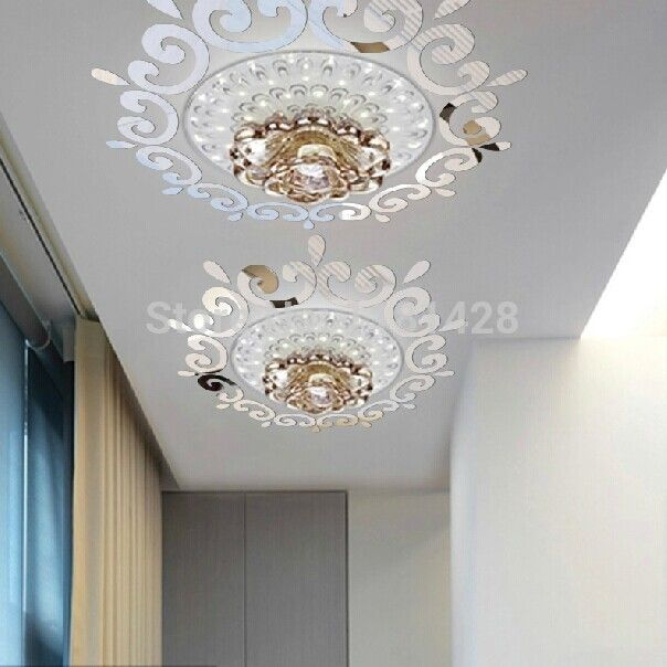 Top Ceilling Mirror Wall Sticker , Top Lighting The Ceiling Chandelier  Around Decorative Mirror Frame Sticker