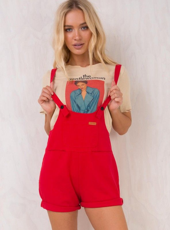 ced49112ae62 Red Sloan Denim Overalls