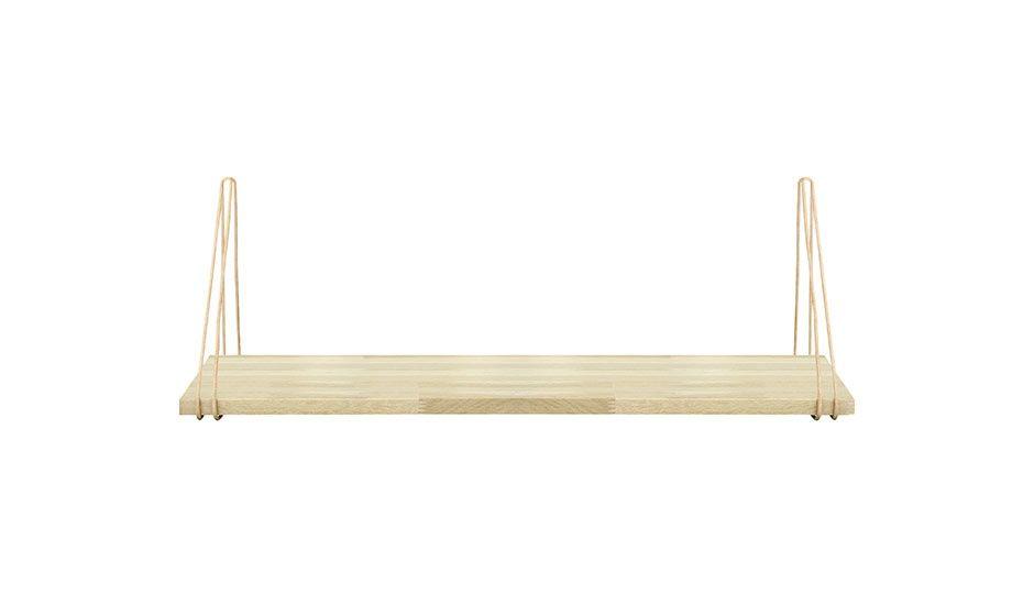 oak and leather strap minimalist wall hung shelf