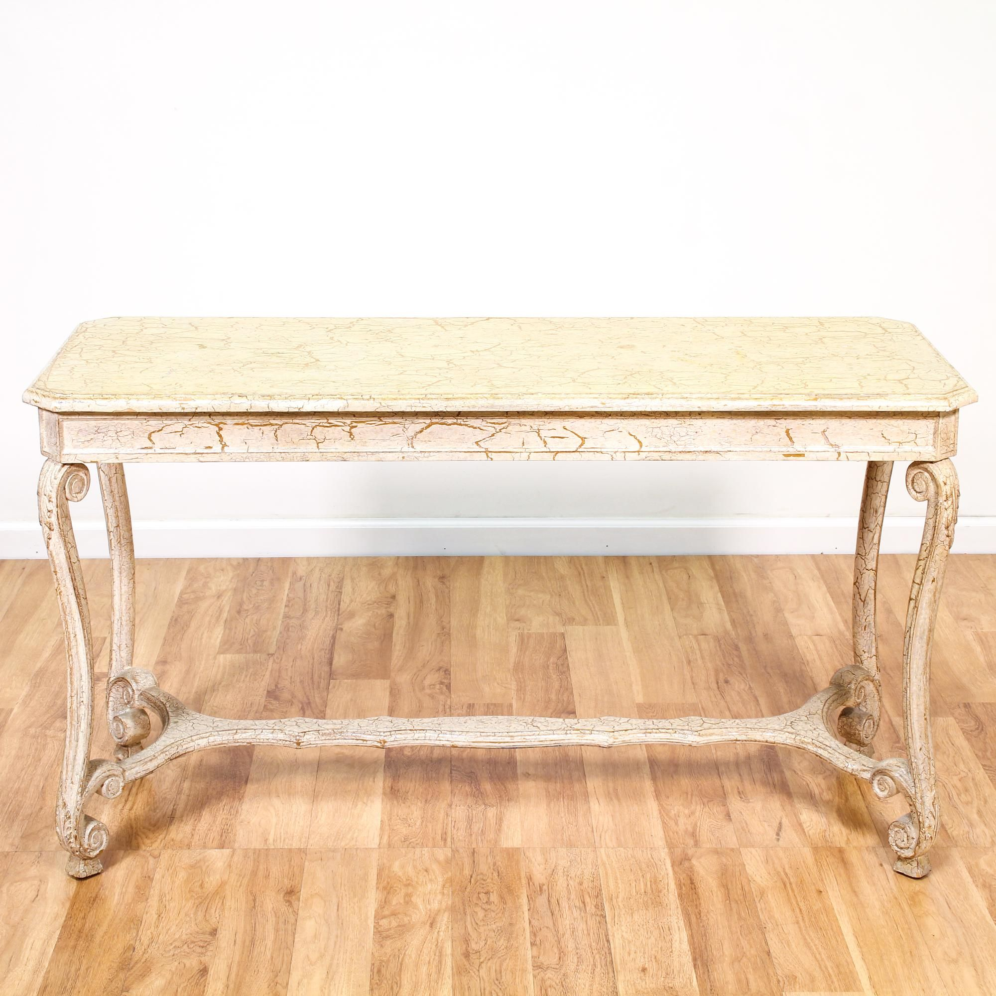 This shabby chic sofa table is featured in a solid wood with a this shabby chic sofa table is featured in a solid wood with a crackled cream finish geotapseo Images