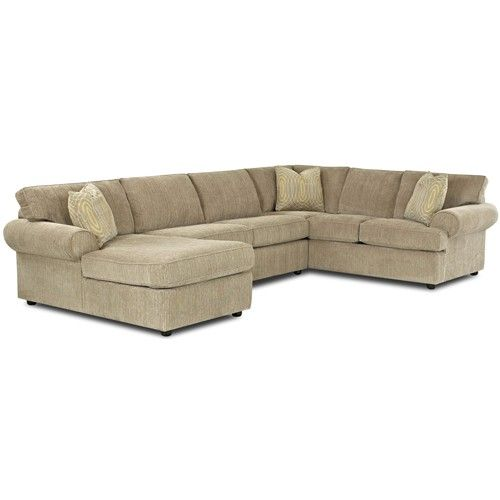 Klaussner Julington Transitional Sectional Sofa with Rolled Arms