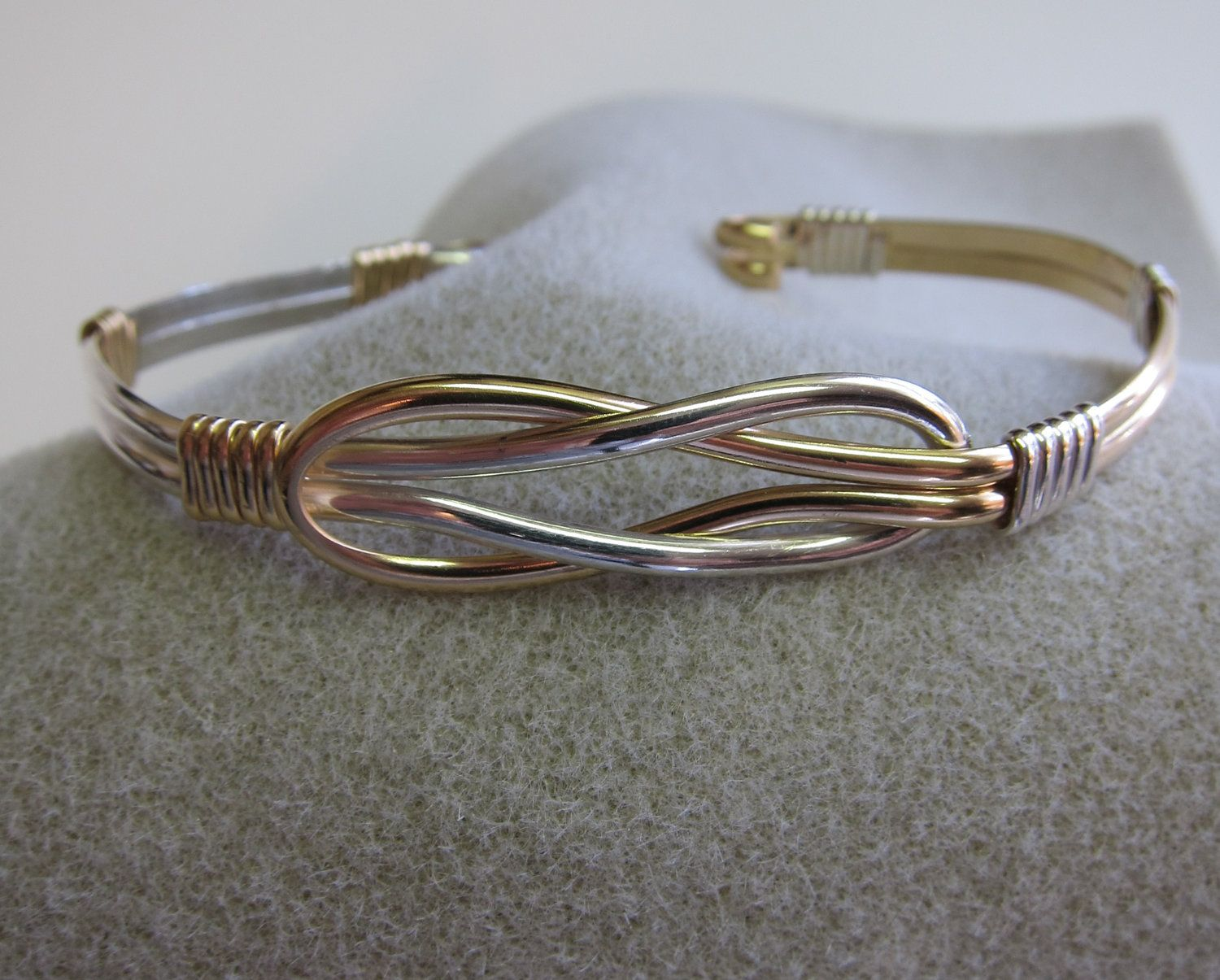 Love knot bracelet celtic two tone k gold filled u