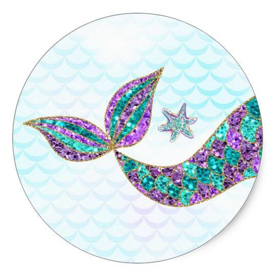 Mermaid Sticker Glitter Under The Sea Thank You Zazzle Com In 2021 Mermaid Sticker Mermaid Birthday Party Mermaid Parties