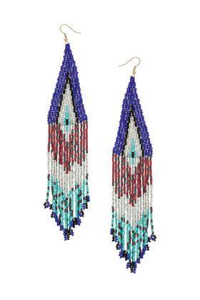 Bugle Bead Diamond Chandelier Earrings