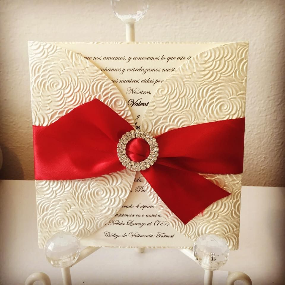 Ivory, red and gold wedding invitation. Rhinestone buckle and ...