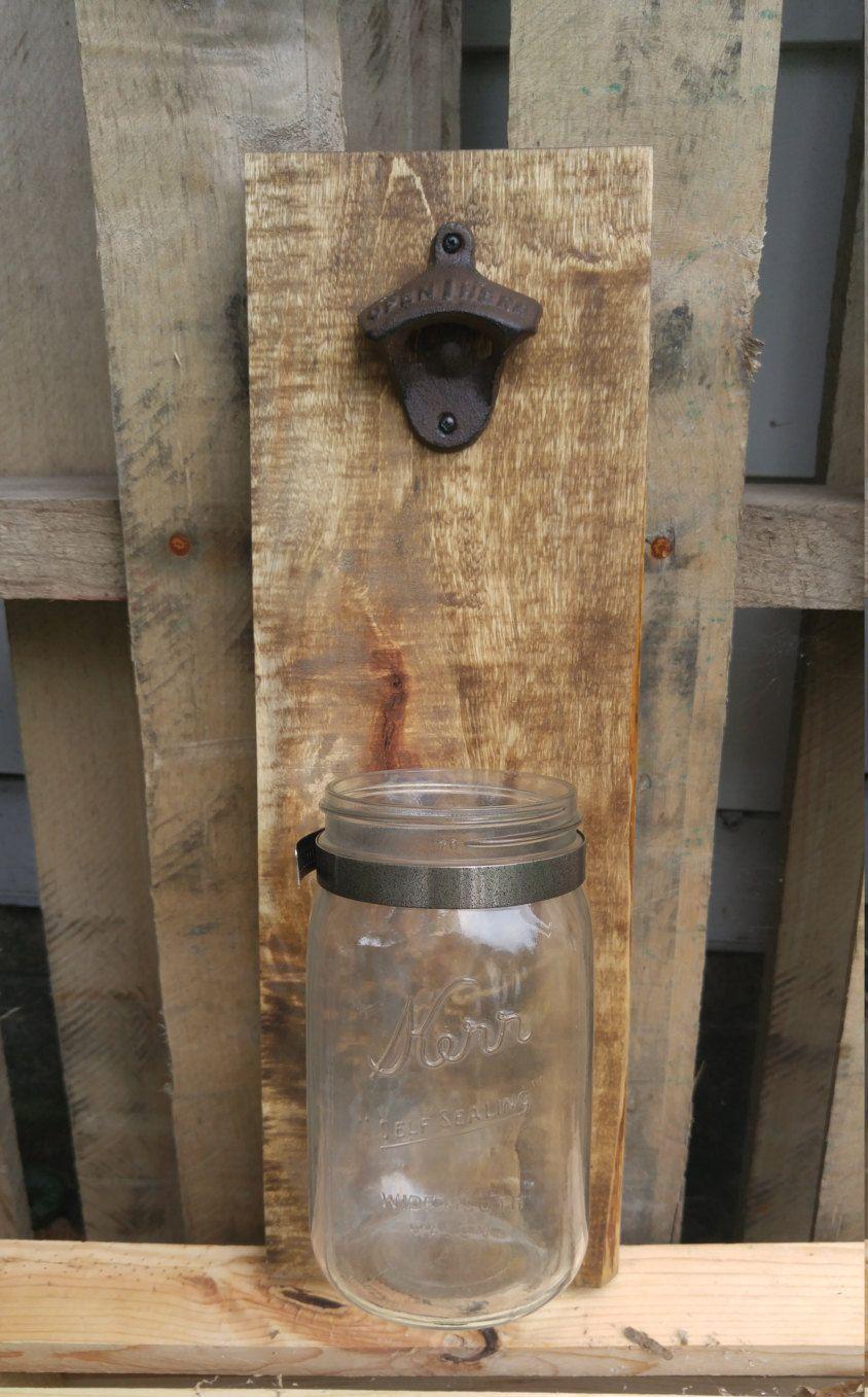 Rustic Decor For Man Cave : Diy mason jar bottle cap catcher beer opener patio