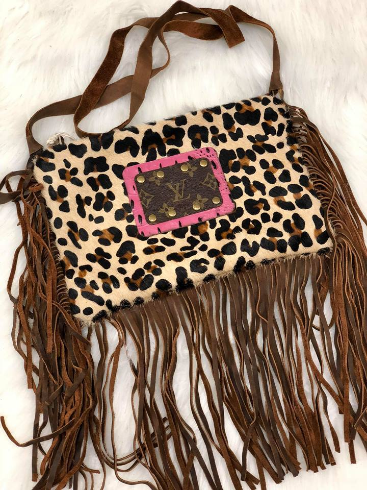 81df0b72ccf5 NEW DESIGNS Fringe Crossbody Purse with LV Embellished patch Great for the  Rodeo Attention Disclosure  This product is made legally from up cycled