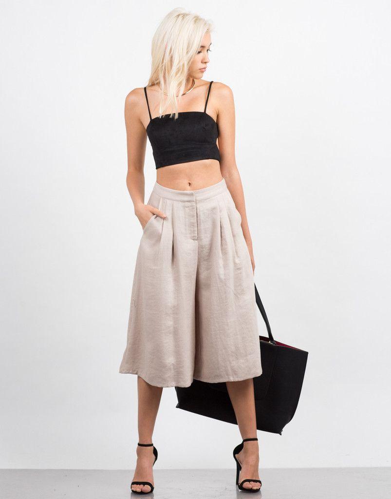 58688aebd799a Linen Culotte Pants - Wide Culottes - White Pants – Bottoms – 2020AVE