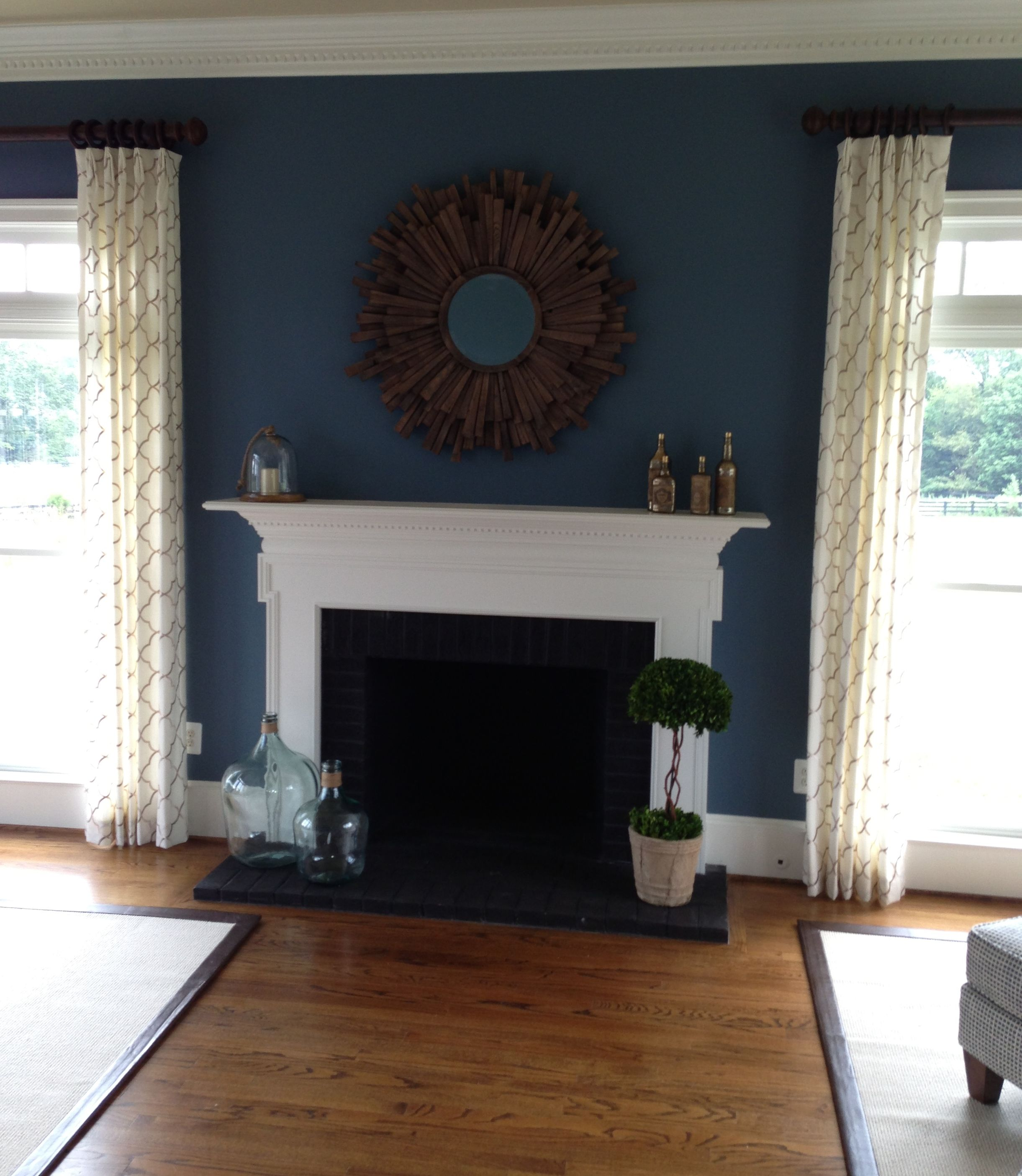 Navy Accent Wall Around Fireplace