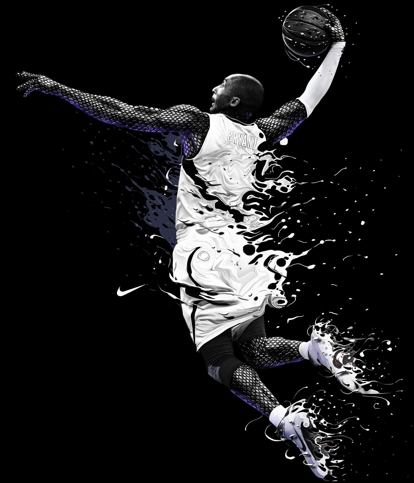 TShirt designs for Nike. Digital illustrations over
