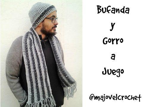 Bufanda y gorro para hombre a juego #tutorial - YouTube | Ganchillo ...