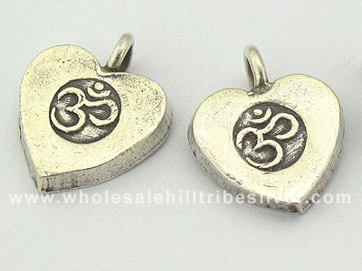 Another Om Yoga silver charm in heart shape. Nice!!