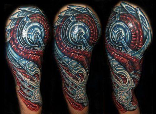 50 Amazing Biomechanical Tattoo Designs Amazing Tattoo Ideas Biomechanical Tattoo Biomechanical Tattoo Design Mechanic Tattoo