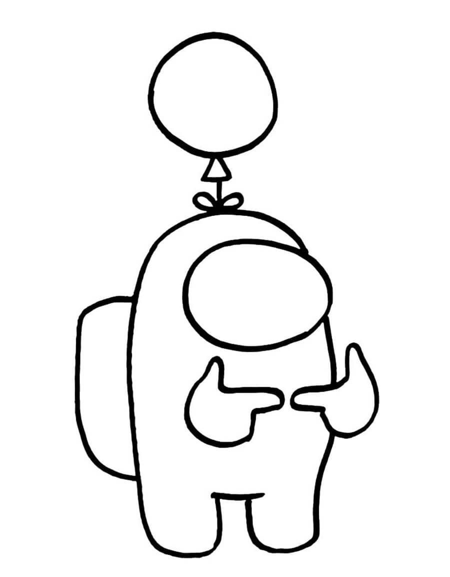 Among Us With Balloon Coloring Pages Outline Drawings Pictures To Draw
