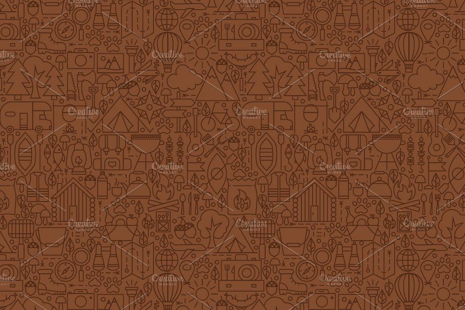 Camping Line Seamless Patterns in 2020 Seamless patterns